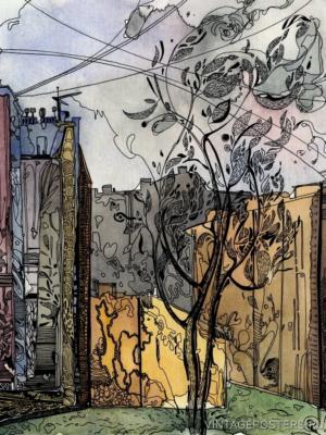"""Купить для интерьера на стену Постер """"Дерево во-дворе у Малой Посадской"""" Санкт-Петерубрг"""
