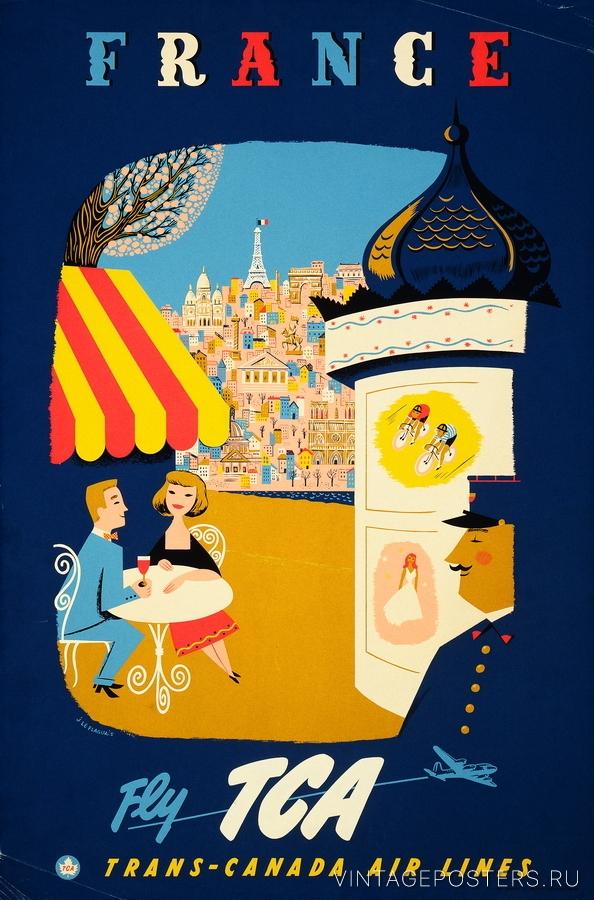 """Купить для интерьера на стену Постер """"Франция"""" Канада 1954"""
