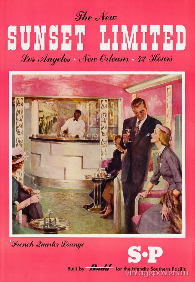 """Купить для интерьера на стену Постер """"Sunset Limited. Лос-Анджелес - Новый Орлеан за 42 часа"""" США 1950"""