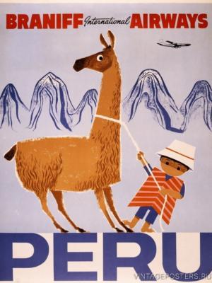 """Купить для интерьера на стену Постер """"Перу"""" США 1950"""