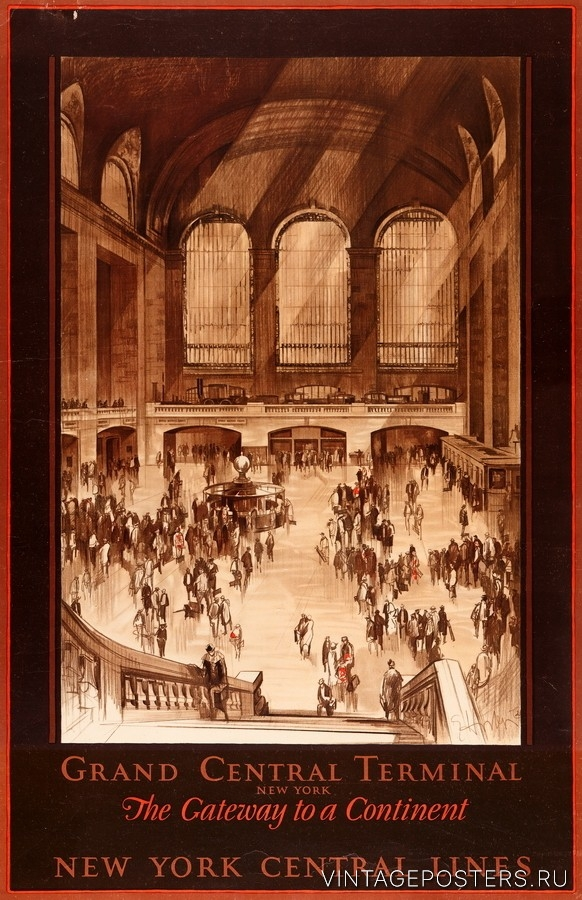 """Купить для интерьера на стену Постер """"Центральный вокзал Нью-Йорка, ворота в континент"""" 1920"""
