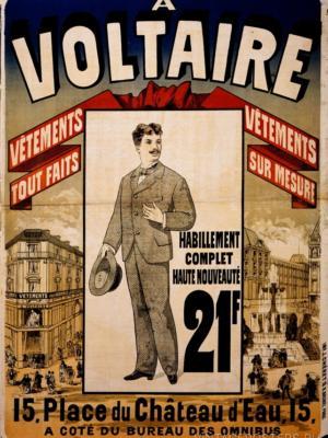 """Купить для интерьера на стену Постер """"A Voltaire: готовая одежда и на заказ"""" Париж 1876"""