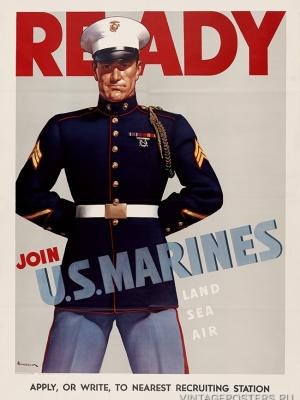 """Купить для интерьера на стену Постер """"Готов вступить в морскую пехоту"""" США 1942"""