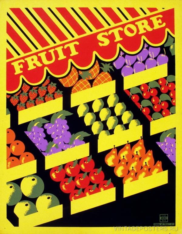 """Купить для интерьера на стену Постер """"Магазин фруктов"""" Нью-Йорк 1936"""