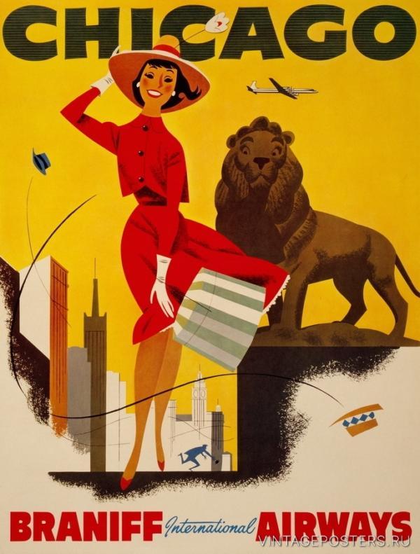 """Купить для интерьера на стену Постер """"Чикаго"""" 1950"""