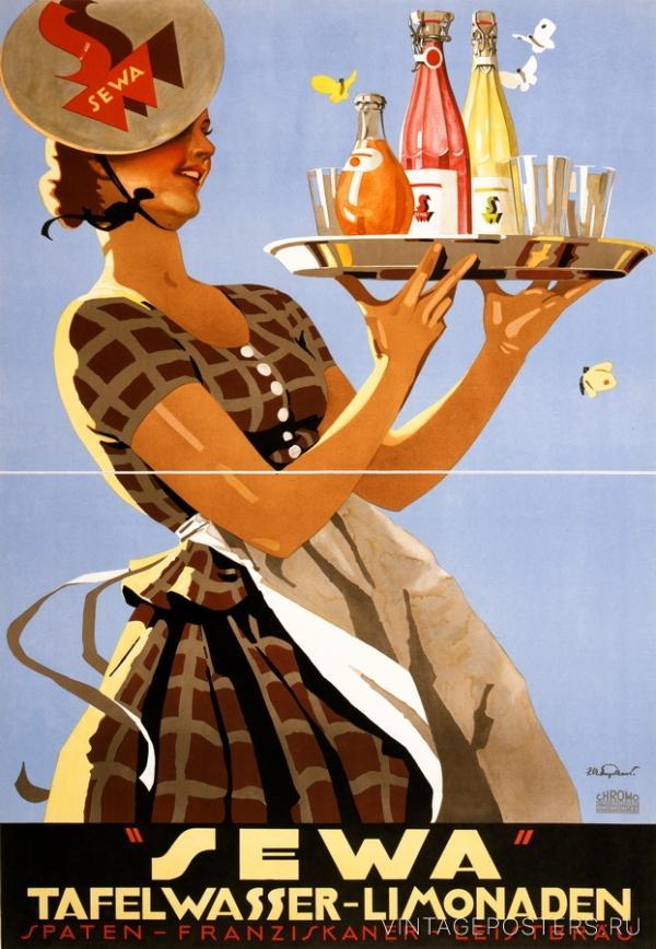 """Купить для интерьера на стену Постер """"Sewa. Лимонад в бутылках"""" Мюнхен 1920"""