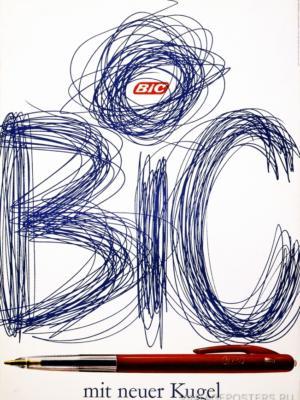 """Купить для интерьера на стену Постер """"Bic с новым шариком"""" Цюрих 1961"""