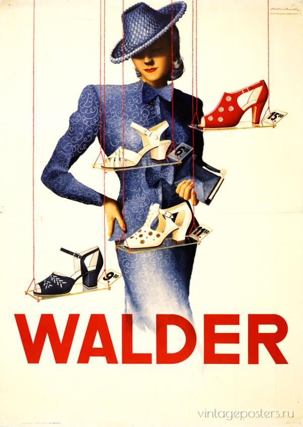 """Купить для интерьера на стену Постер """"Обувной магазин Walder"""" Цюрих 1930"""