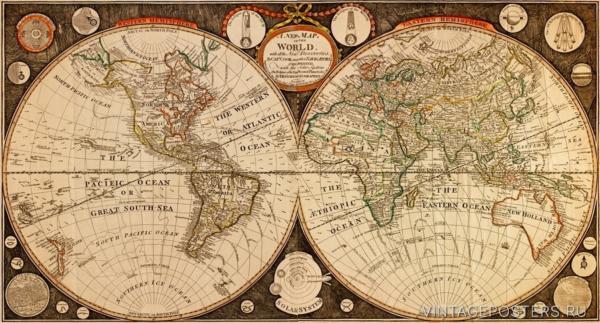"""Купить для интерьера на стену Постер """"Карта мира с открытиями капитана Кука"""" 1799"""