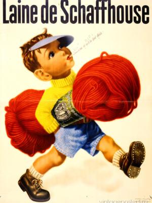 """Купить для интерьера на стену Постер """"Пряжа Laine de Schaffhouse"""" Цюрих 1930"""