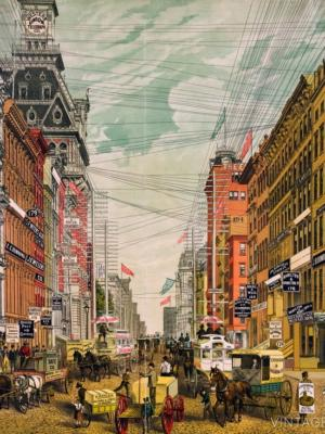 """Купить для интерьера на стену Постер """"Вид на Бродвей"""" Нью-Йорк 1880"""