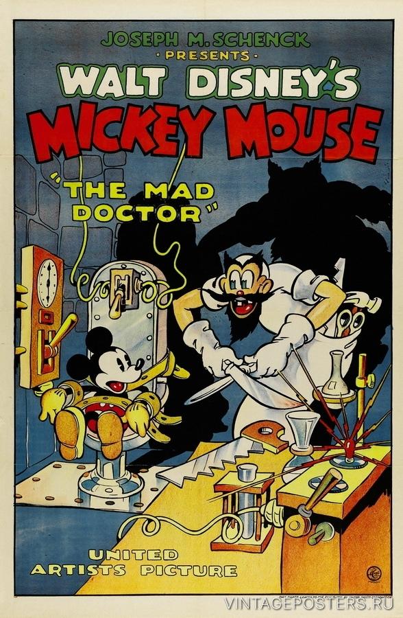 """Купить для интерьера на стену Постер м/ф """"Mickey Mouse. The Mad Doctor"""" США 1933"""