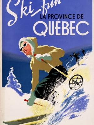 """Купить для интерьера на стену Постер """"Катайтесь на лыжах весело в Квебеке"""" Канада 1930"""