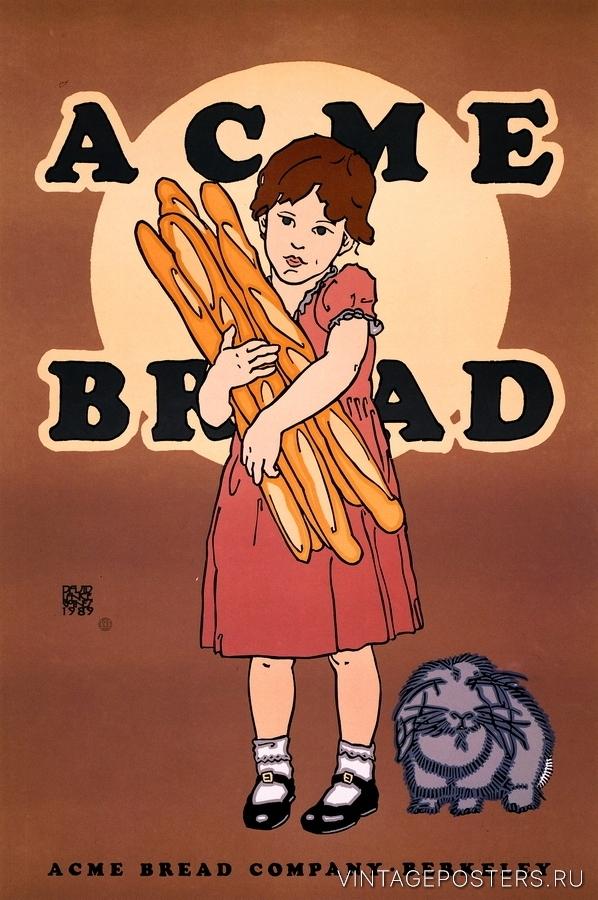 """Купить для интерьера на стену Постер """"Хлеб Акме"""" Беркли 1989"""
