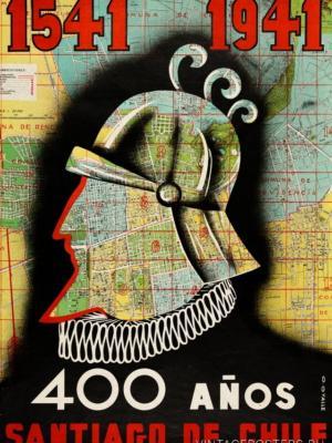 """Купить для интерьера на стену Постер """"400 лет Сантьяго-де-Чили"""" Чили 1941"""