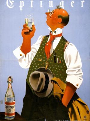 """Купить для интерьера на стену Постер """"Минеральная вода Eptinger"""" Цюрих 1940"""