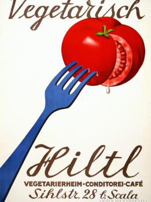 """Купить для интерьера на стену Постер """"Hiltl. Вегетарианское кафе-кондитерская"""" Цюрих 1933"""