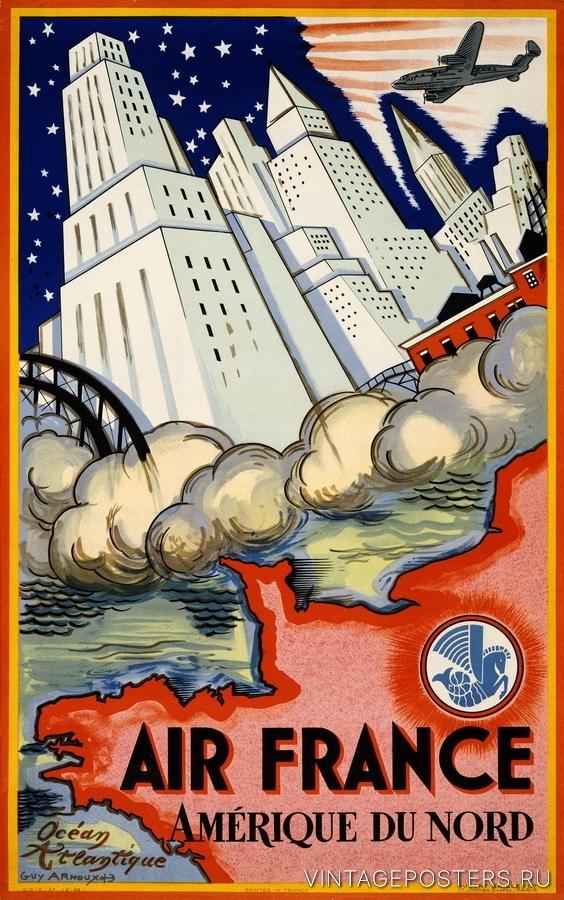 """Купить для интерьера на стену Постер """"Air France. Северная Америка"""" Париж 1946"""