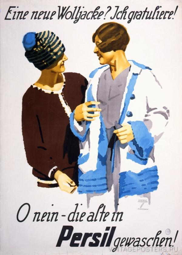 """Купить для интерьера на стену Постер """"Новый кардиган? Поздравляю! О нет, постирала старый Persil!"""" Дюссельдорф 1920"""