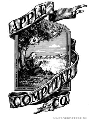 """Купить для интерьера на стену Постер """"Первое лого Apple"""" США 1977"""