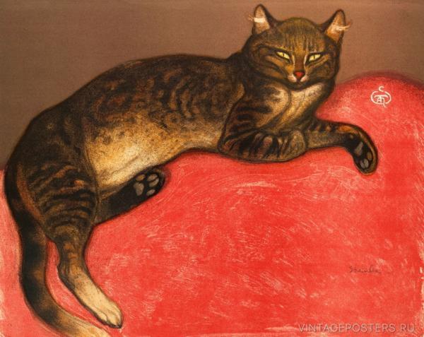 """Купить для интерьера на стену Постер """"Зима: Кошка на подушке"""""""