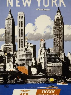 """Купить для интерьера на стену Постер """"Нью-Йорк. Ирландские авиалинии"""" Дублин 1950"""