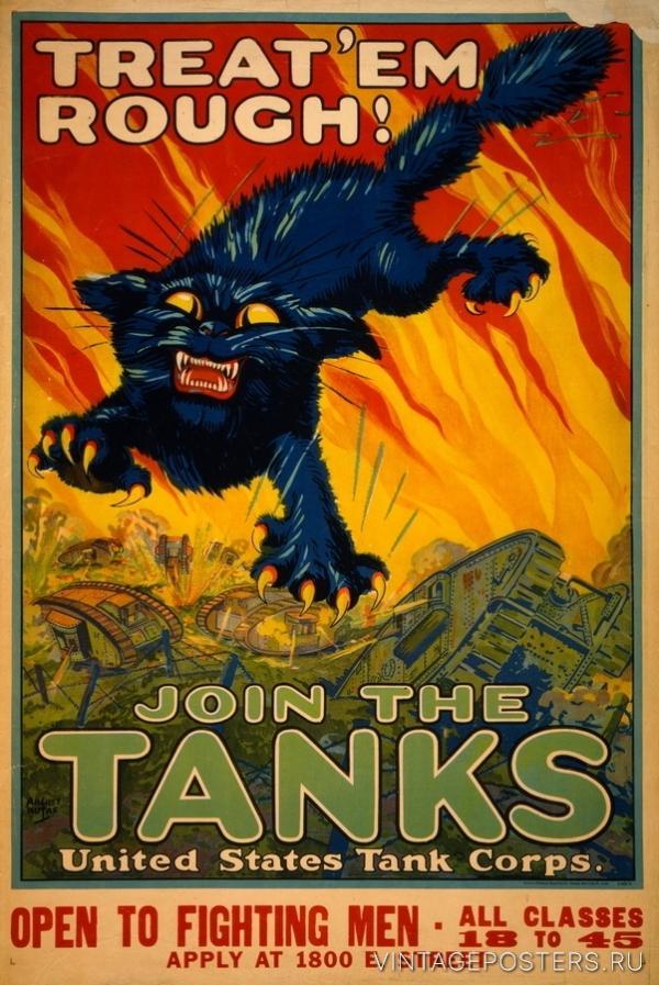 """Купить для интерьера на стену Постер """"Вступайте в танковый корпус"""" США 1917"""
