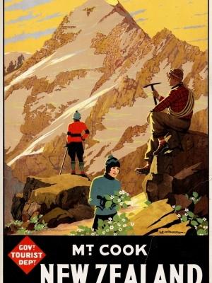 """Купить для интерьера на стену Постер """"Гора Кука (Аораки)"""" Новая Зеландия 1934"""