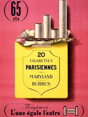 """Купить для интерьера на стену Постер """"Сигареты Parisiennes. Все как одна"""" Швейцария 1939"""