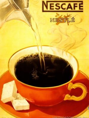 """Купить для интерьера на стену Постер """"Растворимый кофе Nescafe"""" Швейцария 1930"""