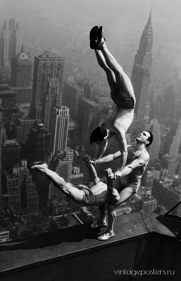 "Купить для интерьера на стену Постер ""Акробаты на крыше Эмпайр-Стейт-Билдинг"" США 1930"