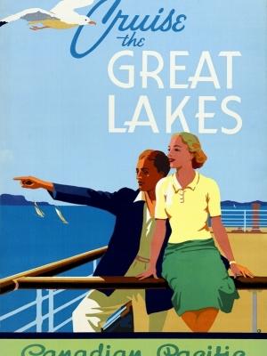 """Купить для интерьера на стену Постер """"Круиз по Великим Озерам"""" Канада 1930"""