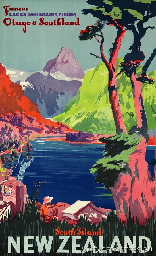 """Купить для интерьера на стену Постер """"Южный остров. Знаменитые озера, горы, фьорды"""" Новая Зеландия 1930"""