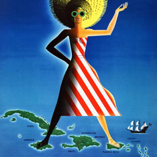 """Купить для интерьера на стену Постер """"Карибы"""" США 1954"""