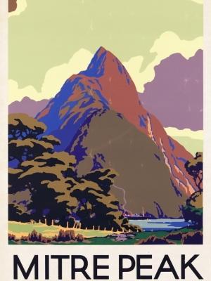 """Купить для интерьера на стену Постер """"Пик Митре в бухте Милфорд"""" Новая Зеландия 1930"""