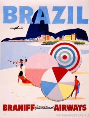 """Купить для интерьера на стену Постер """"Бразилия"""" США 1950"""