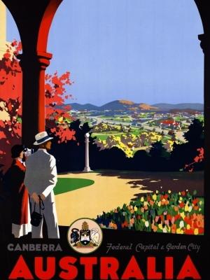 """Купить для интерьера на стену Постер """"Австралия, Канберра. Федеральная столица и город-сад"""" Мельбурн 1930"""