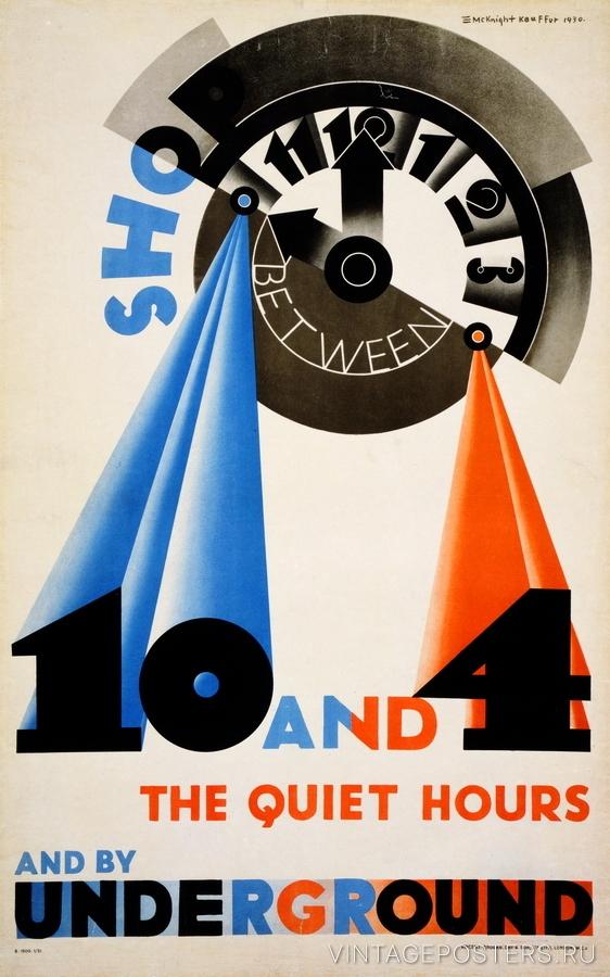"""Купить для интерьера на стену Постер """"Покупай с 10 до 4"""" Лондон 1930"""