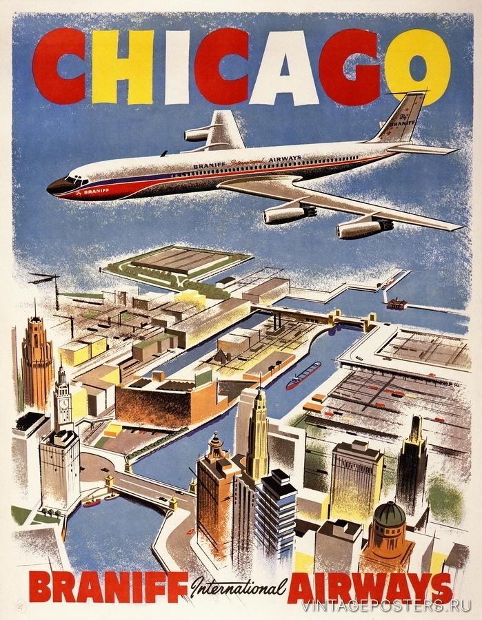 """Купить для интерьера на стену Постер """"Чикаго"""" США 1950"""
