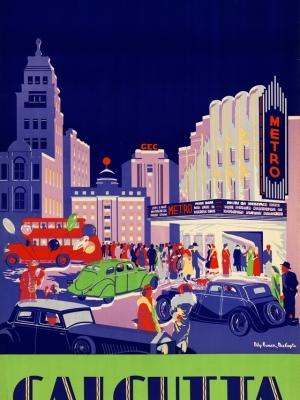 """Купить для интерьера на стену Постер """"Калькутта. Посетите кинотеатр Metro Cinema"""" Индия 1938"""
