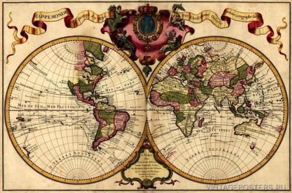 """Купить для интерьера на стену Постер """"Карта мира"""" Париж 1720"""