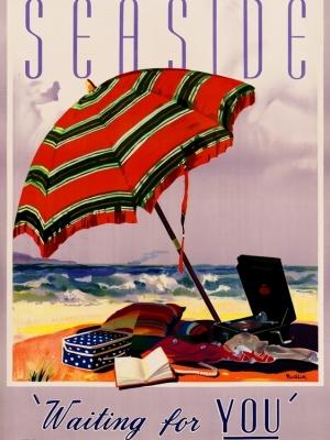 """Купить для интерьера на стену Постер """"Морское побережье ждет вас.  Возьмите Kodak"""" Мельбурн 1930"""