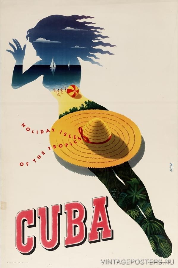 """Купить для интерьера на стену Постер """"Куба. Отдых на тропическом острове"""" Гавана 1940"""
