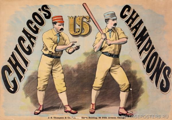 """Купить для интерьера на стену Постер """"Бейсбол. Чикагские чемпионы"""" 1876"""