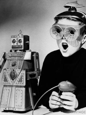 """Купить для интерьера на стену Постер """"Мальчик с роботом «Роберт» """" США 1959"""