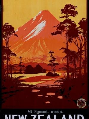"""Купить для интерьера на стену Постер """"Вулкан Таранаки (Эгмонт), 8260 футов"""" Новая Зеландия 1934"""