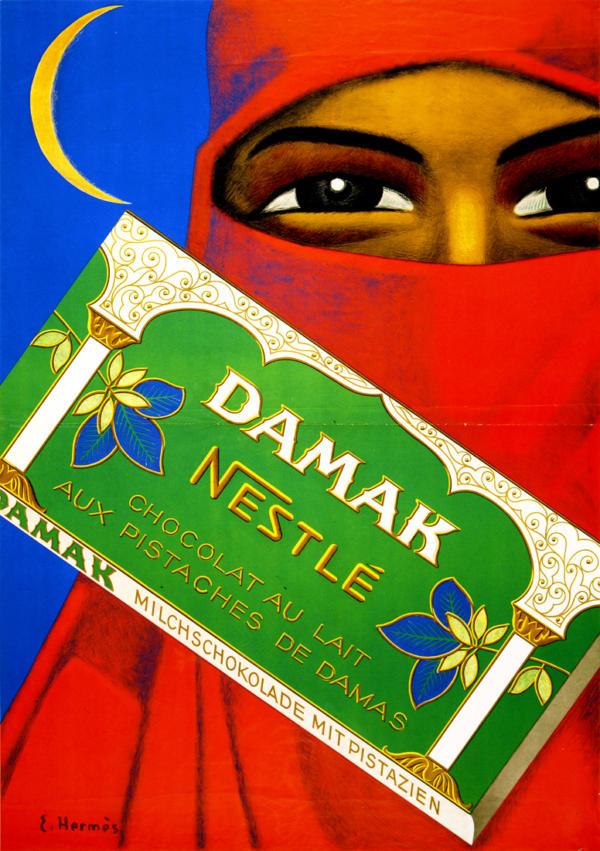 """Купить для интерьера на стену Постер """"Шоколад Damak от Nestle"""" Швейцария 1930"""