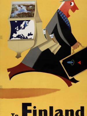 """Купить для интерьера на стену Постер """"В Финляндию со мной"""" Финляндия 1950"""
