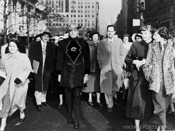 """Купить для интерьера на стену Постер """"Человек с Марса на 40-й улице"""" Нью-Йорк 1950"""
