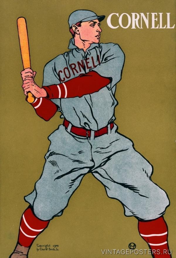 """Купить для интерьера на стену Постер """"Бейсбол. Корнельский университет"""" США 1908"""